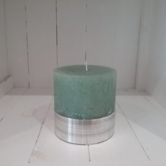 wide candle with silver base