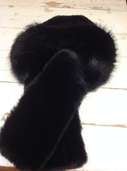 Black faux fur tippet