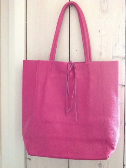 Leather Tote - Hot Pink