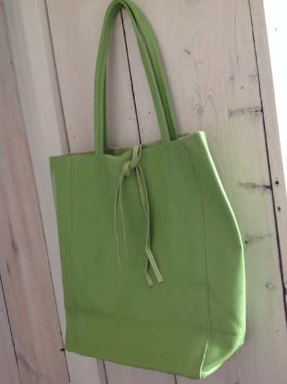 Leather tote bag - pistachio