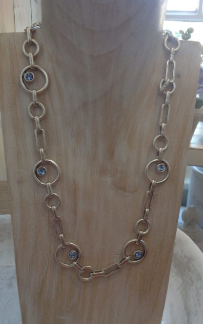 Link necklace, studded with blue gems