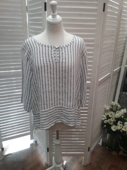 White linen stripe top