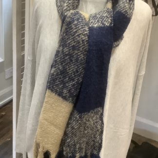 Taupe and blue scarf