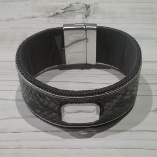 Leather and diamante cuff