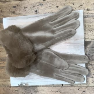 Velvet gloves with faux fur cuff