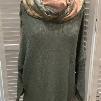 Sage green loose weave jumper