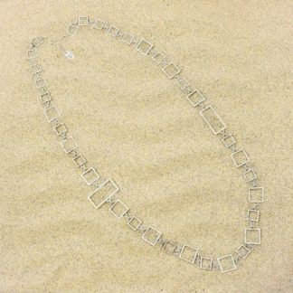 Long square link necklace