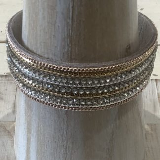 Mixed silver and gold diamanté cuff