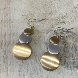 Brushed gold and silver disc drop earrings