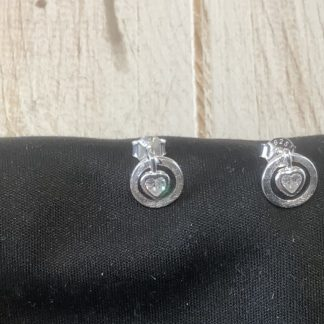 Circle stud earrings with crystal
